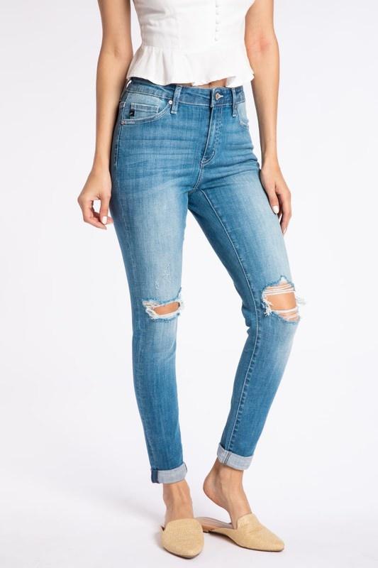 KanCan Med. Wash Distressed Rolled Jeans