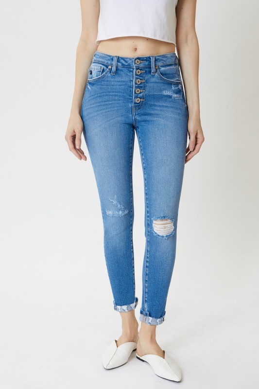 KanCan Med. Wash Button/Distressed Cuff Jeans