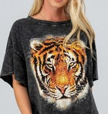 Black Acid Wash Tiger Graphic Tee