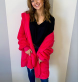 Hot Pink Oversized Fur Jacket