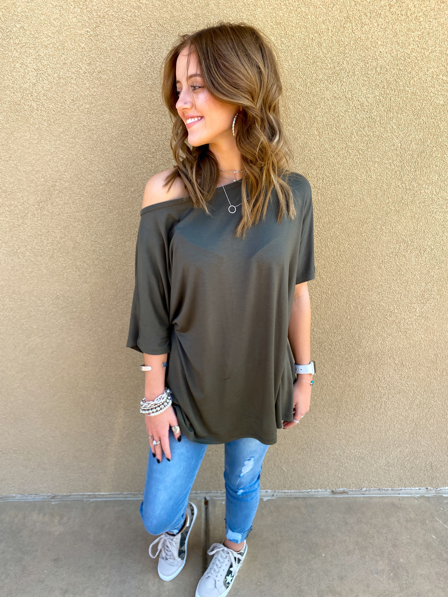 Olive Cozy On Up Tee