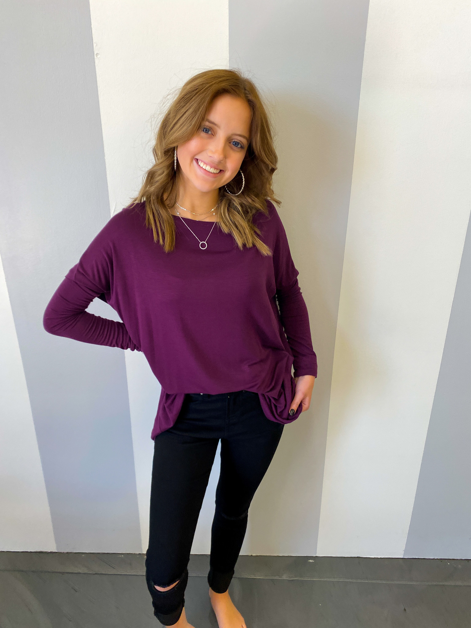 Falling For You LS Top Eggplant