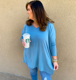 Blue Grey LS Plus Dolman Sleeve Top