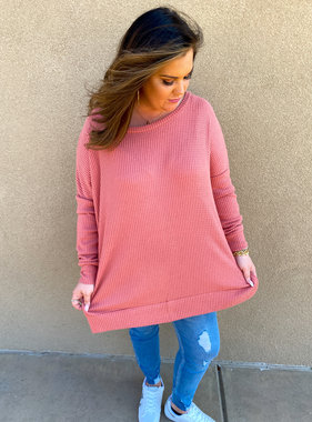 Ash Rose LS Waffle Knit Top