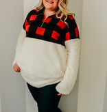 Ivory Plaid Plus Sherpa Pullover