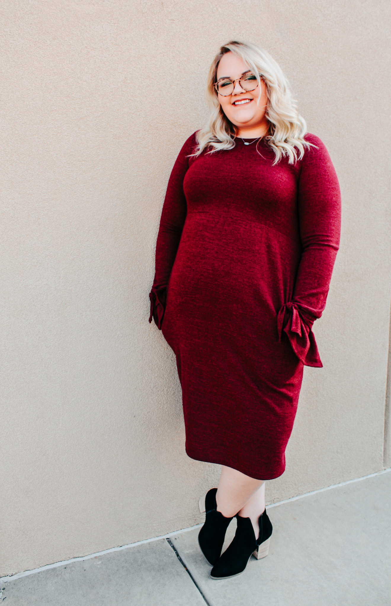 Wine Plus Bell Sleeve Dress