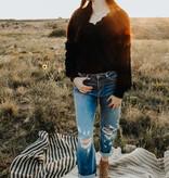 Black Lace trim fuzzy sweater