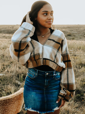 Brown plaid woven cropped jacket
