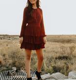 Wine LS Pleated Skirt Dress