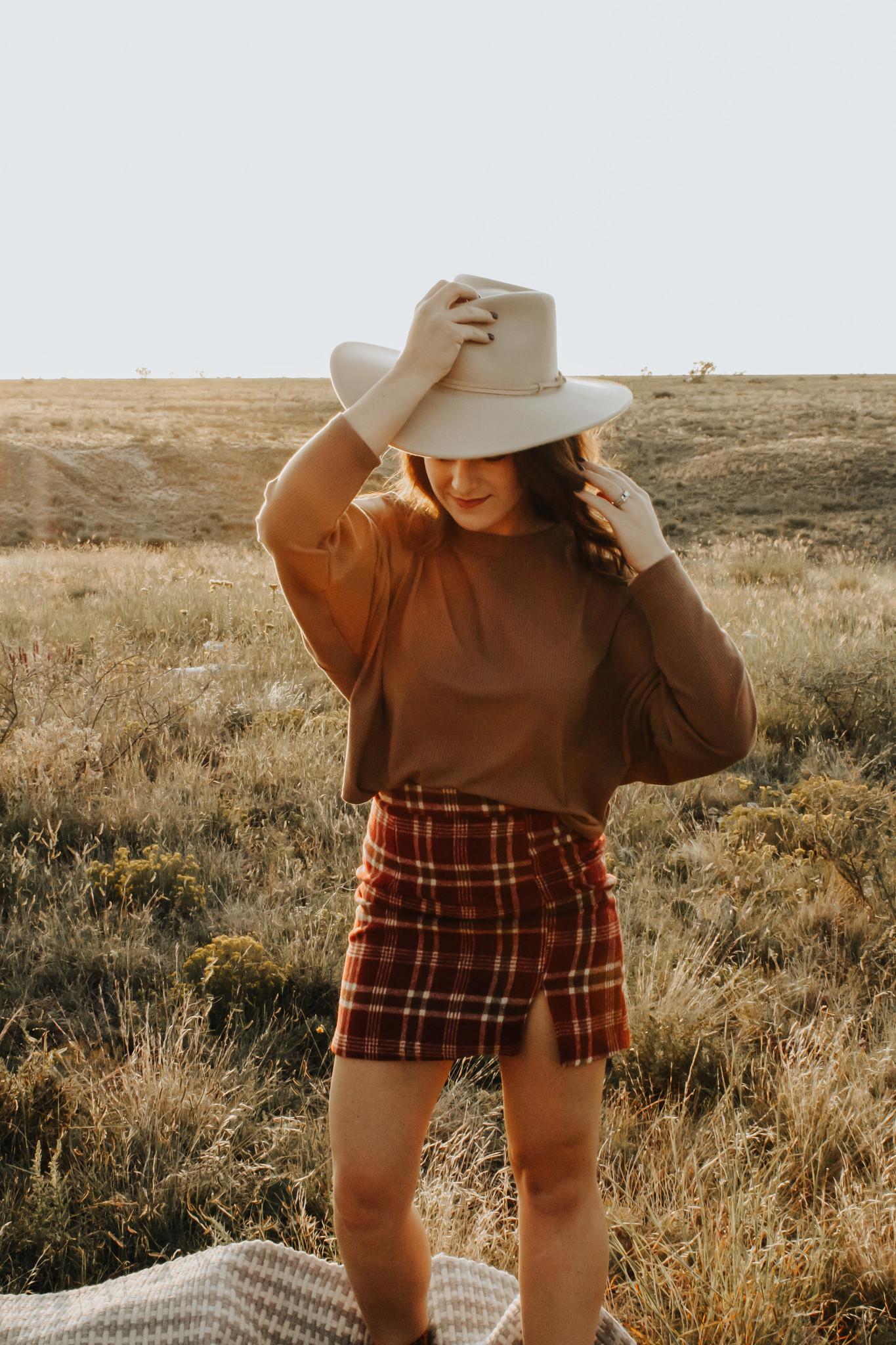 Burgundy Plaid Fall Skirt