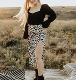 Zebra Print silk midi skirt