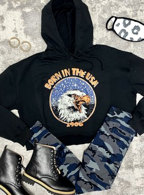 Born In The USA Crop Hoody