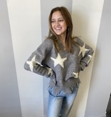 Lt Grey Star Print distressed sweater