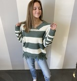 Hunter Green/White Striped Distressed Sweater
