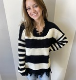 Black/White Striped Distressed Sweater