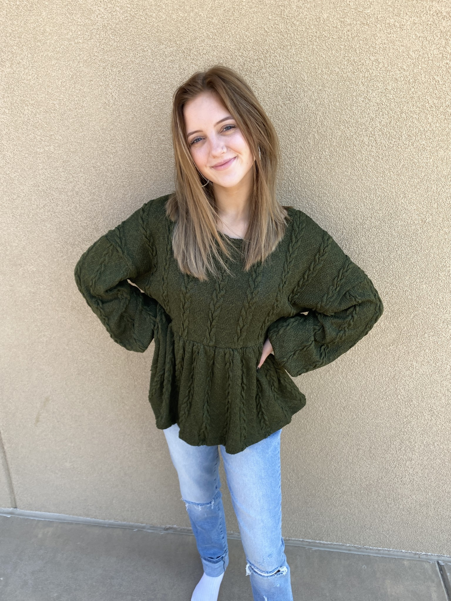 All About Me LS Sweater Olive