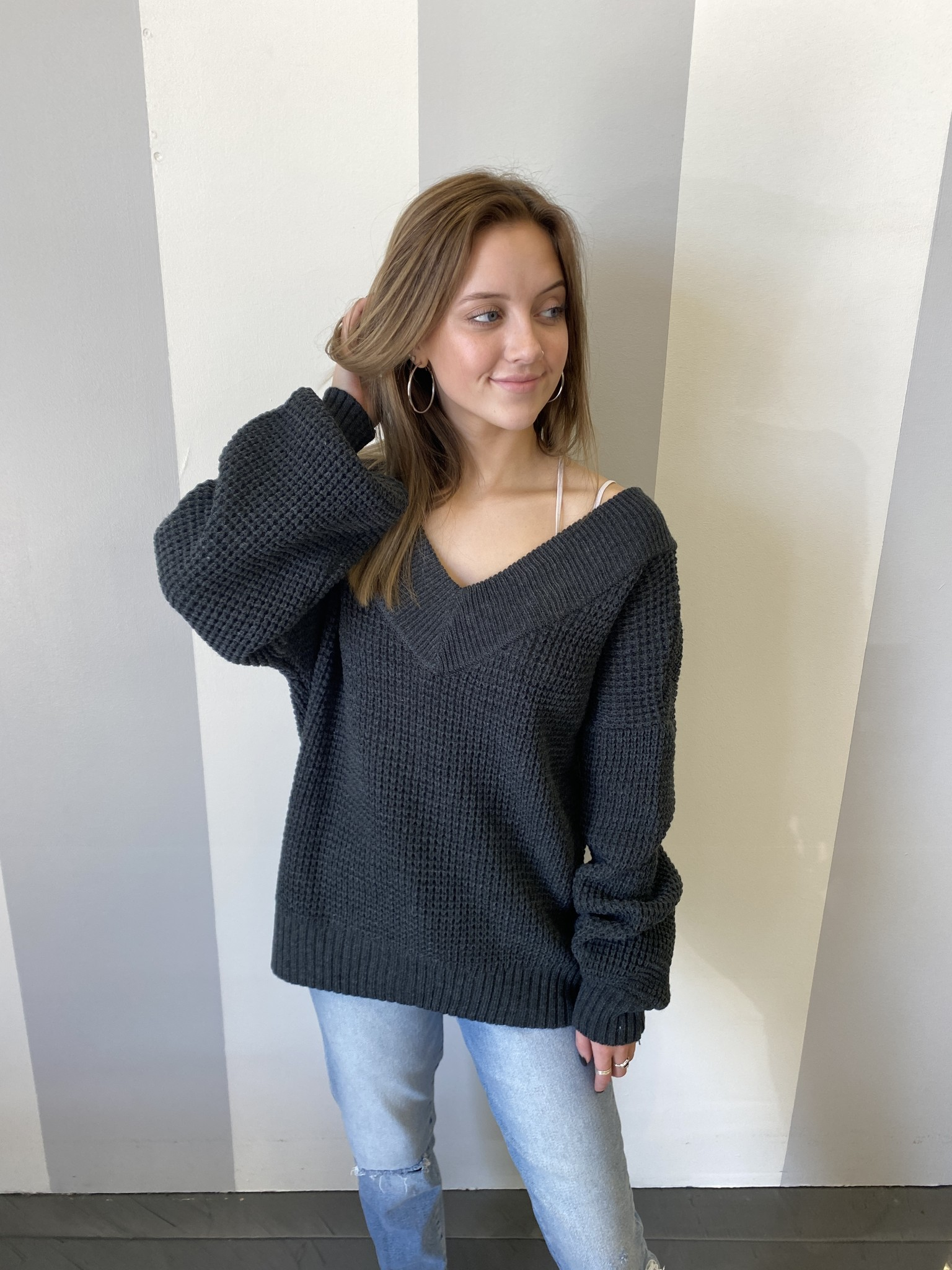 Charcoal Waffle Knit Balloon Sleeve Top