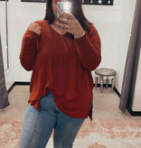 Fired Brick LS Plus Size Dolman Sleeve Top