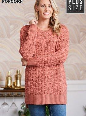 Ash Rose Popcorn LS Plus Sweater
