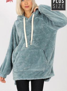 Cement Blue LS Fuzzy Plus Size Pullover