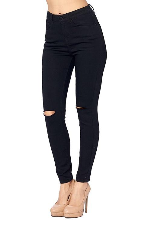 Black Distressed Knee Skinny Jeans