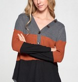 Giving In LS Waffle Knit Rust Top