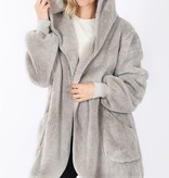 Lt. Grey Oversized Fur Jacket Plus Size
