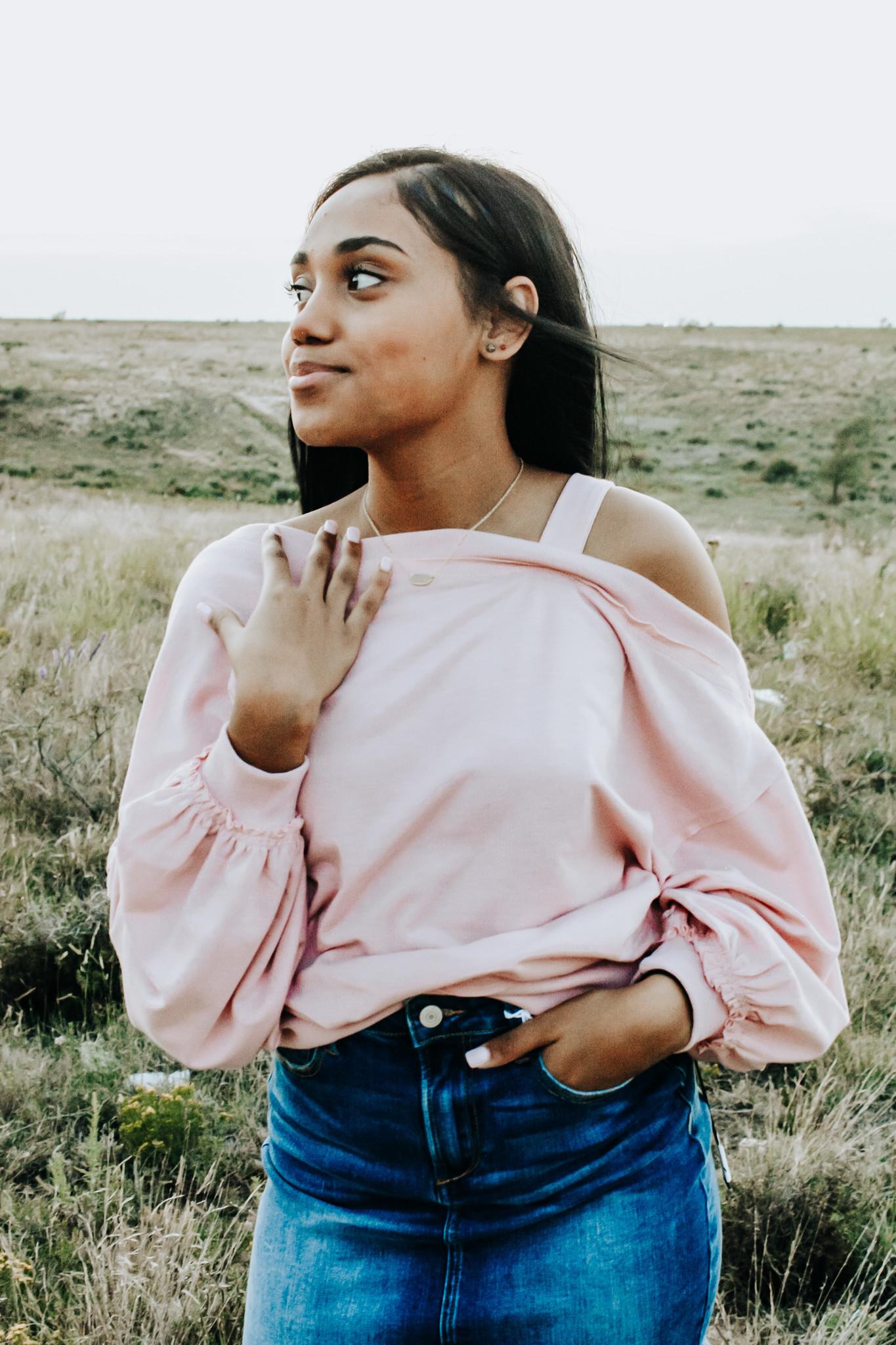 Pink LS terry strap open shoulder