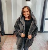 Ash Grey Oversized Fur Jacket