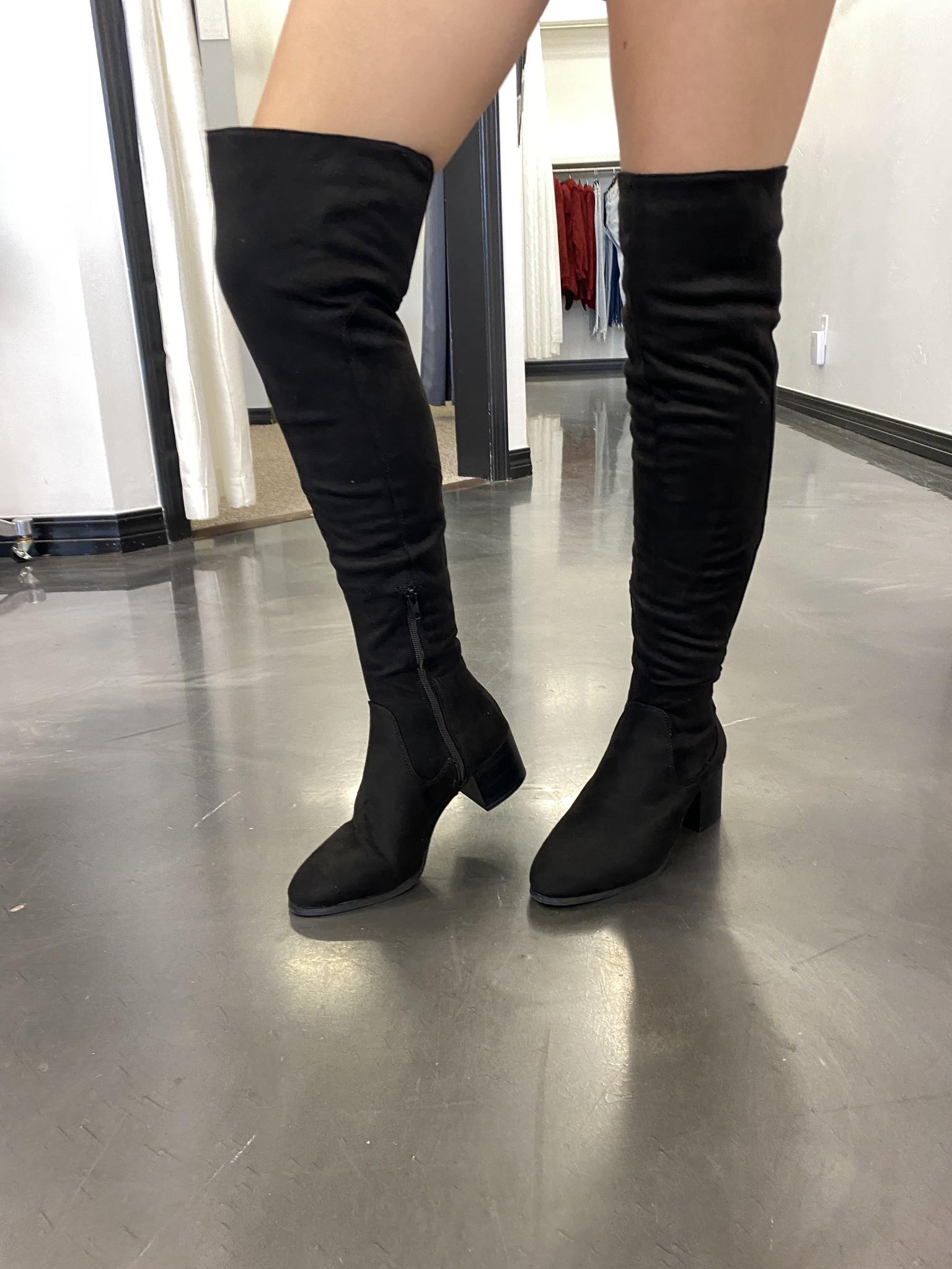 Kat Black Knee High Boots