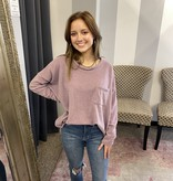Purple LS Pocket Sweater