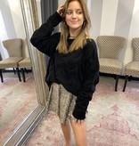 Black Textured Wide Neck Sweater