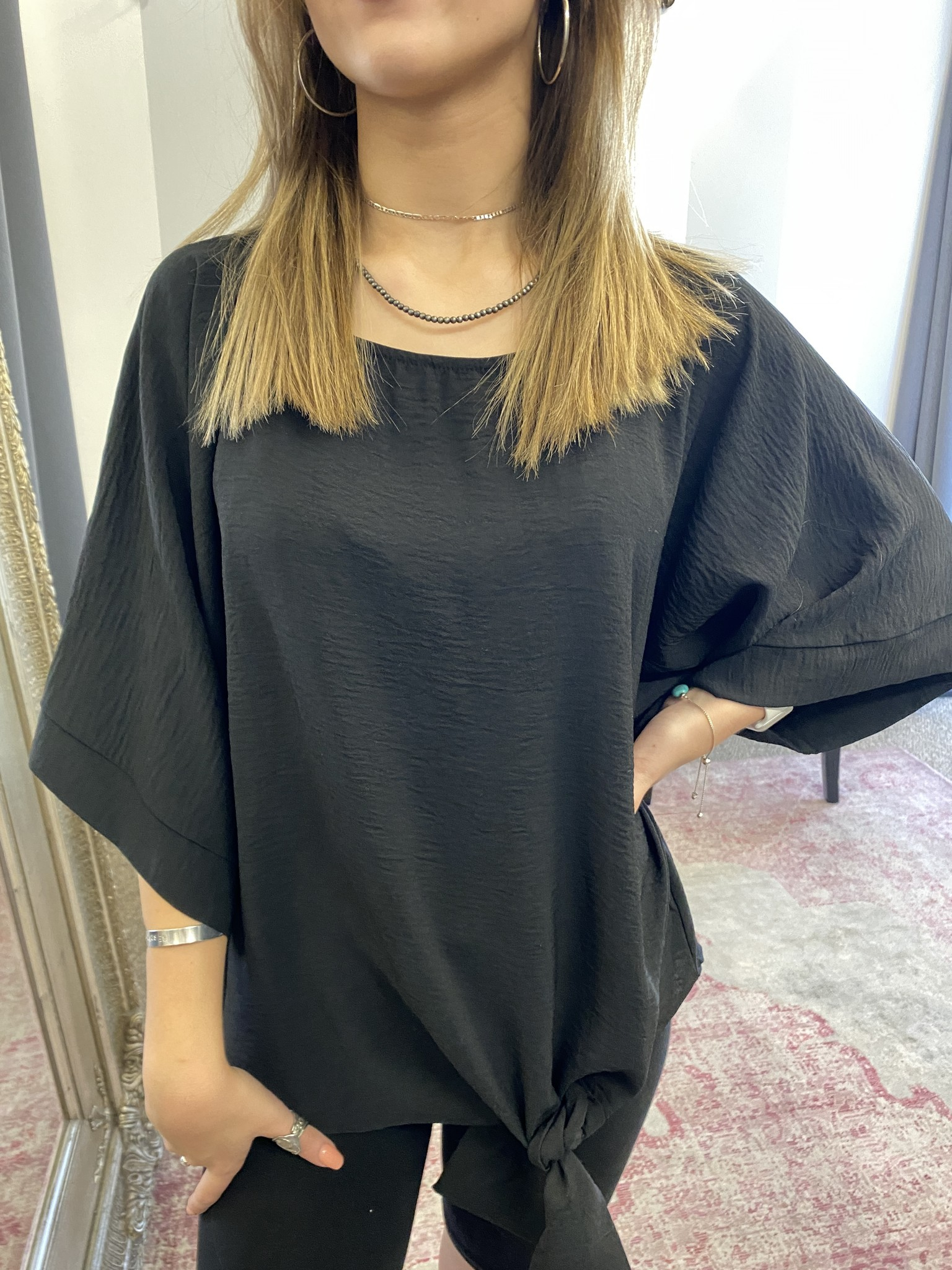 Black Kimono Sleeve Tie Top