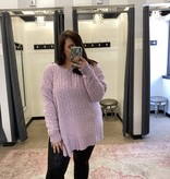 Dusty Lavender Popcorn LS Plus Sweater
