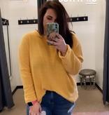 Plus Sized Mustard Drop Shoulder LS Sweater