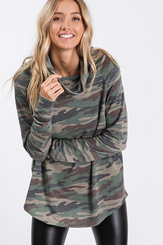 Olive Camo LS turtle neck