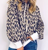 Taupe Leopard Print Hooded Pullover