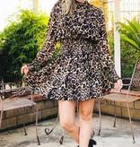 Leopard LS Smocked Dress