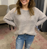 Chunky Chenille Knit Sweater with Scalloped Hem
