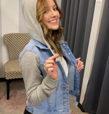 Lt. Blue Denim/Grey Hooded Jacket
