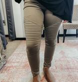 Plus Olive Washed Jeggings w/ zipper details