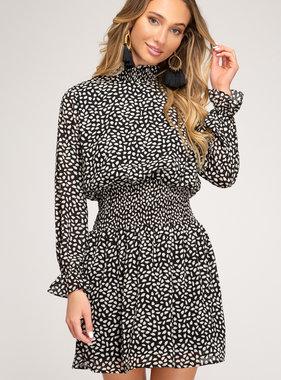 Black Polka Dot Smocked LS Dress