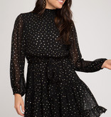 Black LS Golden Star Smocked Dress