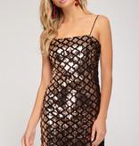 Rose Gold Sparkle Diamond Body Con Dress
