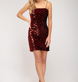 Red Sparkle Diamond Body Con Dress