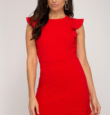 Red Ruffled Cap Sleeve Dress