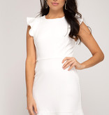 White Ruffled Cap Sleeve Dress