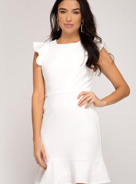 White Ruffled Cap Sleeve Dress