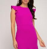 Magenta Ruffled Cap Sleeve Dress