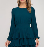 Teal LS Pleated Layered Skirt Dress